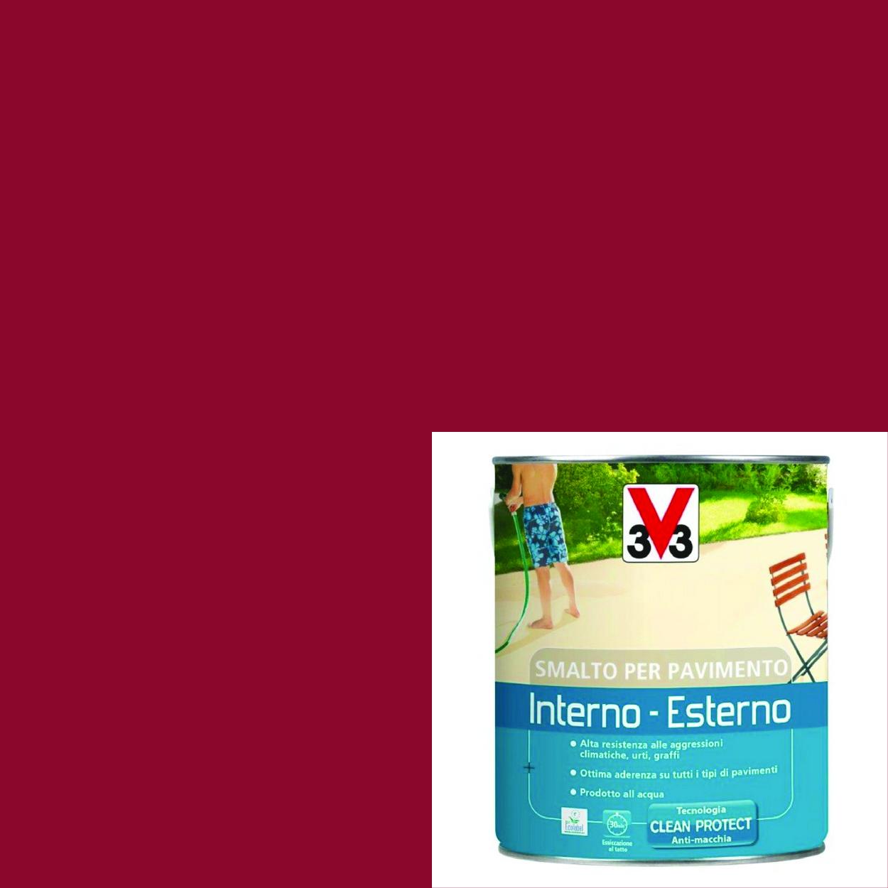 """Pittura Resistente Ai Graffi smalto per pavimenti interno-esterno """"rosso lacca"""" da 0,5 l"""